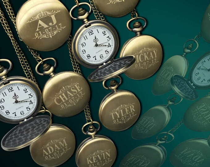 Personalized Pocket Watch - Set of 12 - Groomsmen engraved Watches - Chain included - Engraving included - Custom Men's Wedding gift set