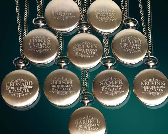 10 Personalized Pocket Watches - 10 Groomsman engraved gifts - Usher & Officiant gifts - Best Man - Father of the Bride - Personalized gifts