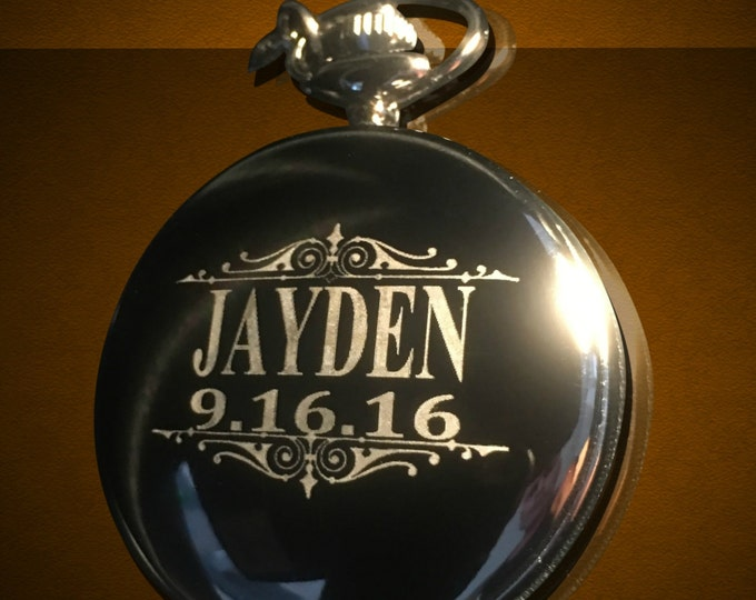 Groomsmen gift, Personalized Silver Pocket watch, Groom and Bride gifts, Best man, Usher & Groomsman gift, Unique wedding gift, Party favors