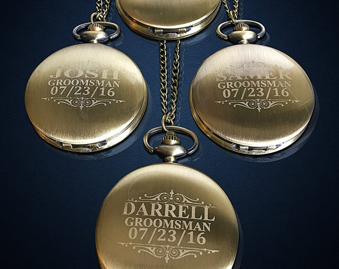 4 Personalized Pocket Watches - 4 Bride & Groom gift - Groomsmen gift - Wedding gift set - Best Man - Man of Honor personalized gift