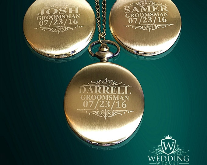 3 Personalized Pocket Watches - Bride & Groom gift - Usher and Groomsmen gift - Wedding gift set - Best Man - Man of Honor personalized gift