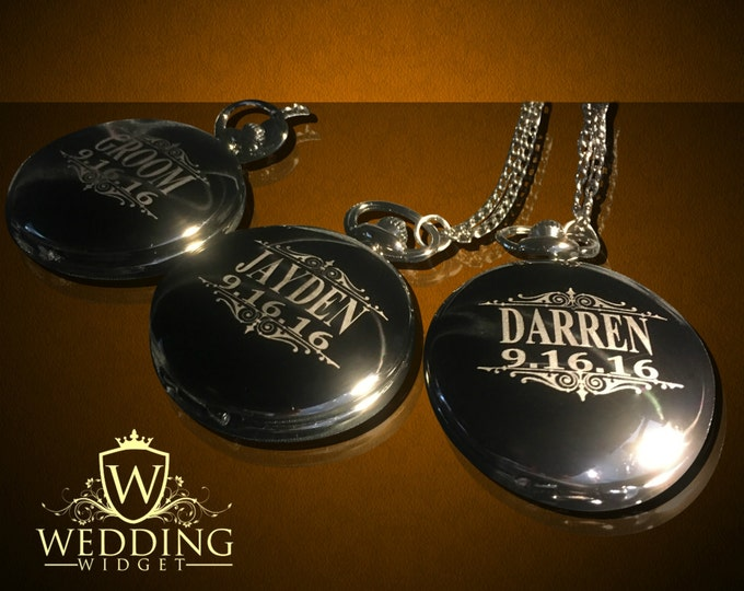 Groomsmen gift - 2 Personalized Silver Pocket watches - Groom and Bride gifts - Best man, Usher and Groomsman gift set - Wedding gifts