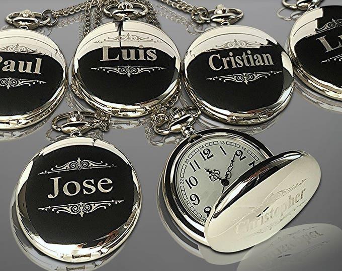 13 Personalized Pocket Watches - 13 Groomsman engraved gifts - Personalize gift engraved watch - Usher & Officiant gift - Wedding gift set