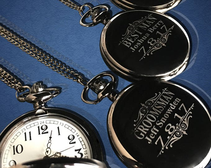 11 Personalized Pocket Watches - 11 Groomsman engraved gifts - Personalize gift engraved watch - Usher & Officiant gift - Wedding gift set