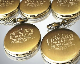 15 Personalized Pocket Watches - 15 Groomsman engraved gifts - Usher & Officiant gifts - Best Man - Father of the Bride - Personalized gifts