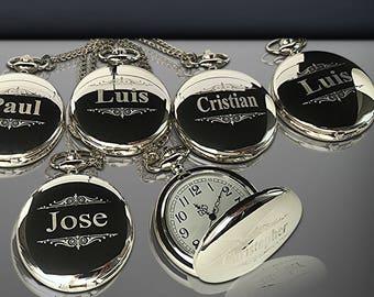 10 Personalized Pocket Watches - 10 Groomsman engraved gifts - Personalize gift engraved watch - Usher & Officiant gift - Wedding gift set