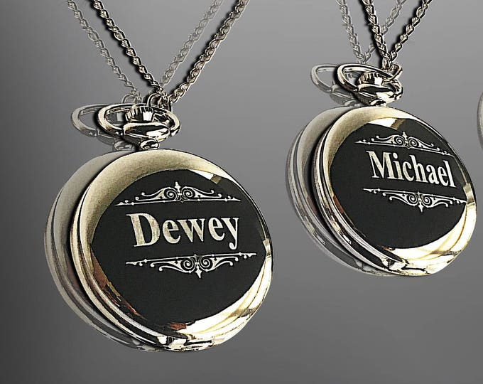 2 Groomsmen Pocket Watches - Engraved pocket watch in gift with box - Best Man and officiant gift sets - Personalized gifts for him