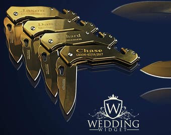 2 Personalized Knives - 2 Groomsman engraved gifts - Best Man gift sets - Personalize engraved tactical knives - Wedding or Birthday gift