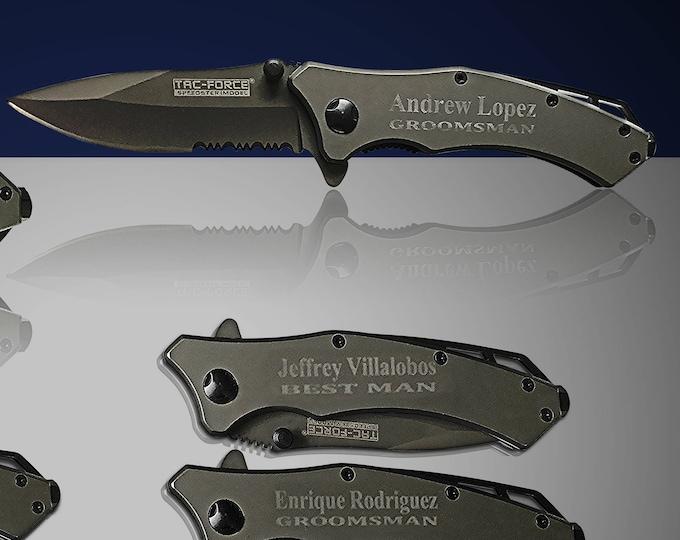 6 Personalized Knife set - 6 Custom engraved Gun Metal Tactical knife - Titanium coated laser engraved gift - Birthday gift or wedding gift