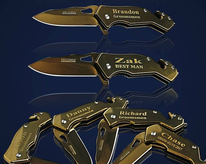 11 Personalized Knifes - 11 Groomsmen engraved gift - Best Man engraved tactical knife - Wedding and Birthday gift - Groomsman gift set