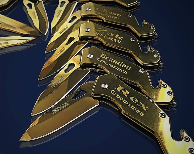 10 Personalized Knifes - 10 Groomsmen engraved gift - Usher & Officiant gift - Best Man engraved tactical knife - Wedding and Birthday gift
