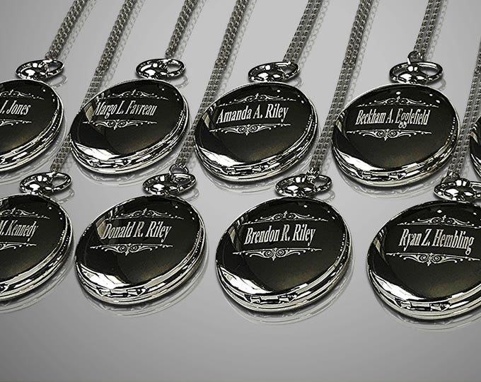 10 Personalized Pocket Watches - 10 Groomsman engraved gifts - Usher & Officiant gifts - Best Man gift - Personalized gifts - Groom gift