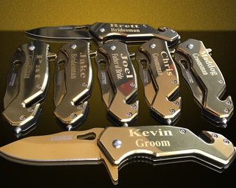 3 Personalized Knifes - 3 Groomsmen engraved gifts - Usher & Officiant gift - Personalize engraved tactical knife - Wedding - Birthday gift