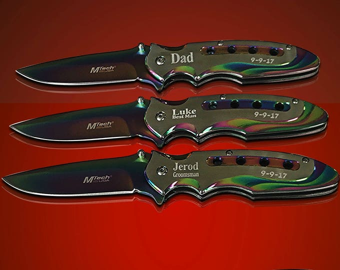 4 Tactical Engraved knifes - Personalized engraved Groomsmen gift - Custom Knife  - Gifts for him - Usher and Best Man gift -Wedding gift