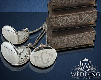 7 Engraved Pocket Watches - 7 Monogrammed engraved pocket watches - Personalize gift -Wedding Groomsmen gift set -Best Man & Groom gift