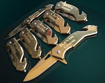 11 Personalized Knifes - 11 Groomsmen engraved gift - Best Man engraved tactical knife - Wedding gift set of 11 Gold polished pocket knifes
