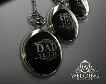 11 Personalized Pocket Watches - Groomsman engraved gift - Couples gifts - Wedding gifts - Best Man - Man of Honor gift - Personalize gifts