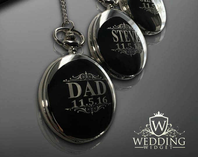 12 Personalized Pocket Watches - Groomsman engraved gift - Couples gifts - Wedding gifts - Best Man - Man of Honor gift - Personalize gifts