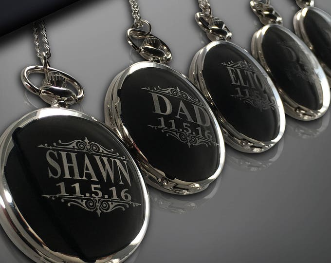 10 Personalized Pocket Watches - Groomsman engraved gift - Couples gifts - Wedding gifts - Best Man - Man of Honor gift - Personalize gifts