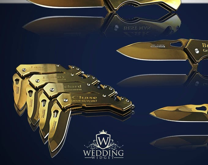 9 Personalized gifts - 9 Groomsmen engraved knives - Usher & Officiant gift - Best Man engraved tactical knife - Wedding and Birthday gift