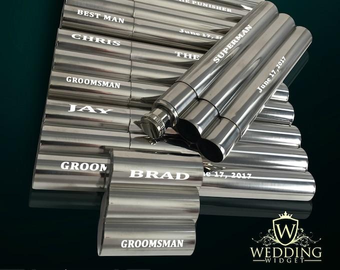 Engraved flask/cigar combo gift, set of 11 Groomsman Engraved flask/cigar cases, Personalized gift, Wedding gifts, Mens Ring Bearer gift set