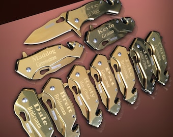 9 Personalized gifts - 9 Groomsmen engraved knives - Gold tactical wedding gift - Personalize gold knifes engraved - 9 Bridesmaid gifts