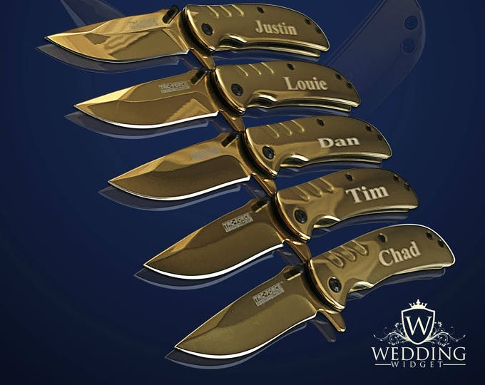 12 Personalized Groomsman Knifes - 12 Custom Engraved gifts - Officiant gift - Best Man Engraved tactical knife - Wedding gift set