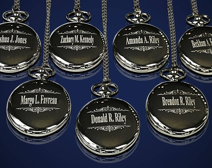 Groomsmen gift - 12 Personalized Pocket watches - Bride and Groom gifts - Best man, Usher and Groomsman gift set - Wedding gift set