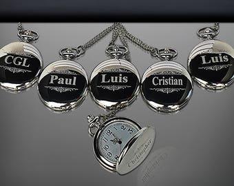 12 Personalized Pocket Watches - 12 Groomsman engraved gifts - Personalize gift engraved watch - Usher & Officiant gift - Wedding gift set