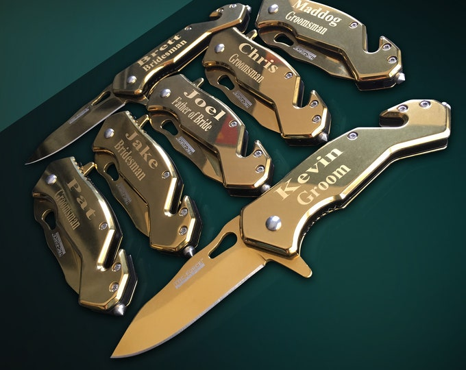 4 Personalized Knifes - 4 Groomsmen custom engraved gifts - Wedding gifts for men - Engraved tactical knifes - Groom and Bride gift