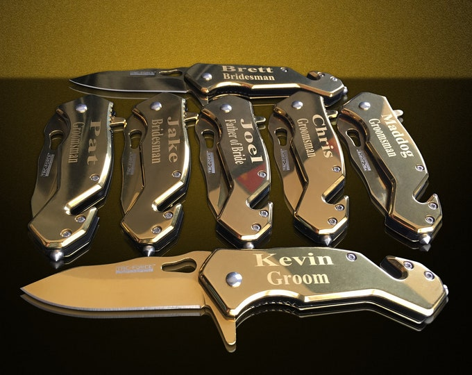6 Personalized Knifes - 6 Gold Groomsman engraved gift - Best Man engraved tactical knife set for men and women - Wedding set of 6