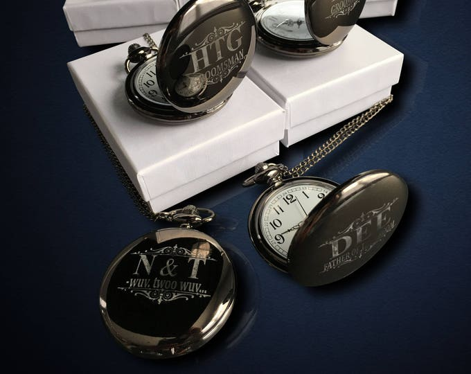 7 Personalized Pocket Watches - Groomsman engraved gift - Couples gifts - Wedding gifts - Best Man - Man of Honor gift - Personalize gifts