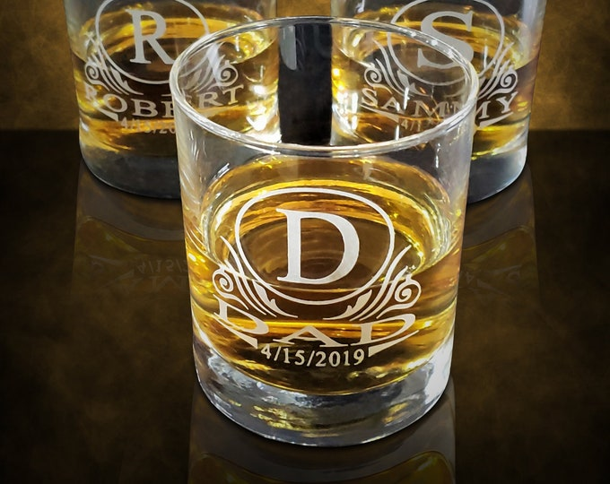 Engraved Rock Glass - Sets of 1, 3, 7, 9, 12, 15 Wedding gift for him - 10oz Double rock glass gift - Groomsmen personalized gift sets