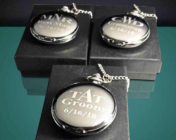 Groomsmen gift, Gift set of 10, Pocket watch gift, Men's gift, Wedding pocket watch set, Best Man watch, Guys gift, Mans pocket watch set