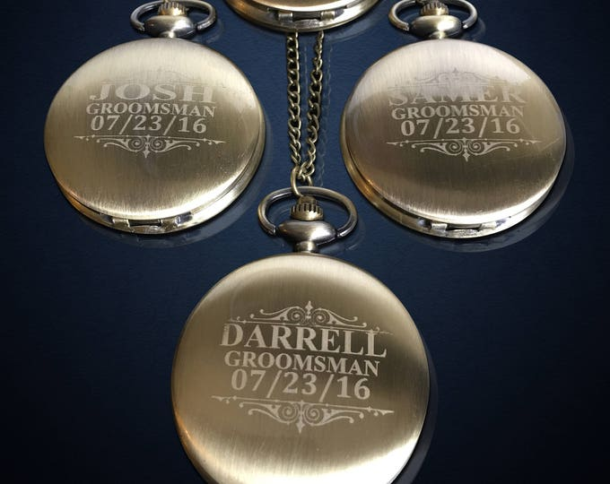 11 Groomsmen Pocket Watches - 11 Man of honor and Best Man engraved gifts - Usher & Officiant gifts - Personalized gifts for weddings