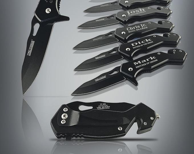 Groomsmen Black tactical knives, 10 piece set, Gift sets for men, Tactical pocket knife, Folding knife set, Groomsman gift, Wedding gift set