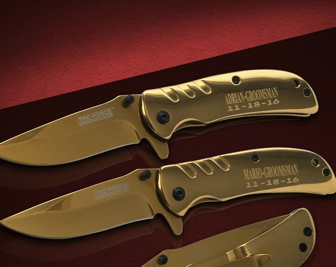 10 Groomsmen Pocket knife set - 10 Personalized Best Man & Usher gift set - Wedding and Birthday gift - Bridesmaid gift set of 10