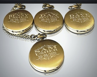 4 Groomsmen engraved gifts - 4 Personalized Pocket watches - Groom and Bride gifts - Best man, Usher and Groomsman gift set - Wedding gifts
