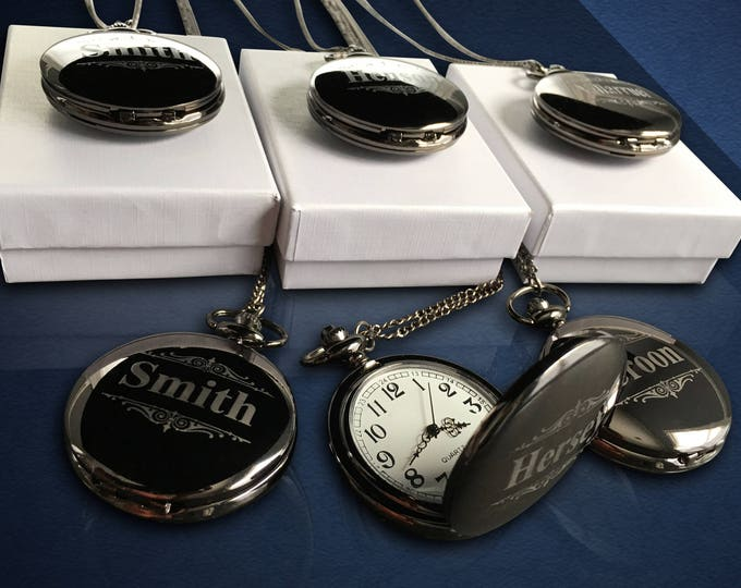 Personalized gift set - 12 Groomsmen gifts - Silver pocket watch set - Groomsman gift in box - Persoanlized Pocket watches for men