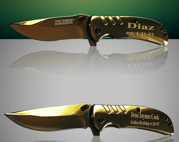 Engraved Gold Tactical knife - Personalize Gold laser engraved gift - Custom Knife - Birthday gift - Gifts for him - Groomsman Wedding gift