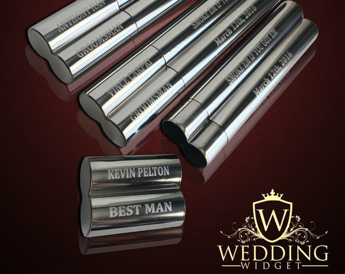 3 Groomsmen gifts  - 3 Engraved cigar cases - Gifts for him - Personalized Cigar holder custom engraved - Wedding gifts for Groomsmen