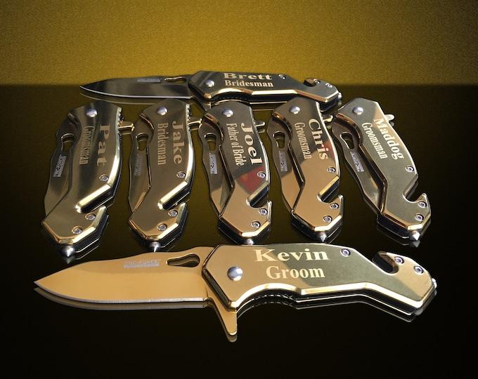 12 Personalized Knifes - 12 Groomsmen engraved gift - Gold pocket knofe wedding gift set - Bridesmaid gifts set 12 - Groomsman pocket knife