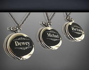3 Groomsmen Pocket Watches - Engraved pocket watch in gift with box - Best Man and officiant gift sets - Personalized gifts for him