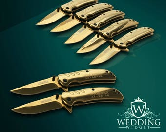 7 Personalized Knifes - 7 Groomsmen engraved gift - Best Man & Officiant engraved gift set of 7 - Bridesmaid gift - Bride and Groom gift