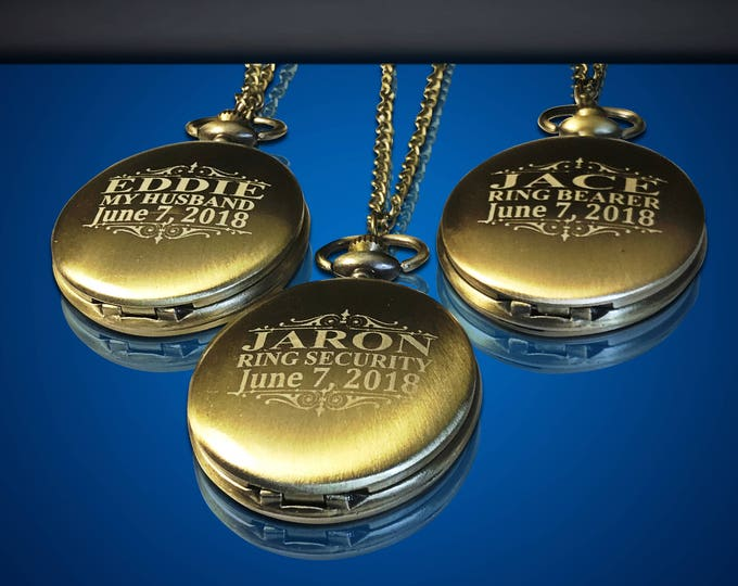 3 Groomsman Pocket  Watches - Wedding party gift & mementos - 3 Groomsmen gift with boxes - Best Man and officiant gift - Personalized gifts