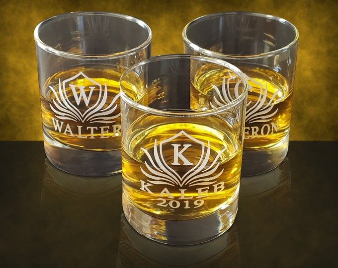 Engraved Rock Glass - Sets of 1, 3, 7, 9, 12, 15 Wedding gift for him, Groomsmen personalized 10oz round glass - Customized Men's glass set