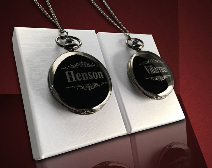 Pocket watch, Set of 2, Personalized gift, Groomsmen gift, Wedding gifts, Best Man unique gift, Husband gift, Guys gift, Mens gift, Gift box