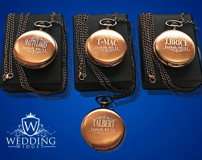 Personalized Pocket Watches set of 4, Bride and Bridesmaid gifts, Groomsmen gift, Wedding gifts, Best Man, Matron of Honor personalized gift
