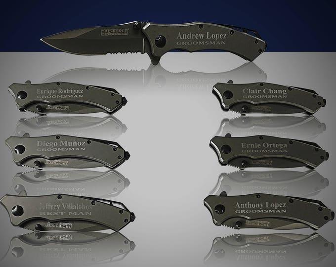 12 Personalized Knifes - 12 Custom engraved Gun Metal Grey Tactical knife -Titanium coated laser engraved gift -Birthday gift - Wedding gift