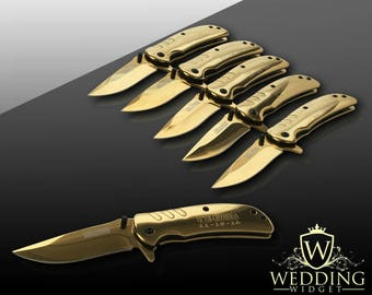 9 Groomsmen engraved Knifes - 9 Personalized gifts - Usher & Officiant gift - Best Man engraved tactical knife - Wedding and Birthday gift